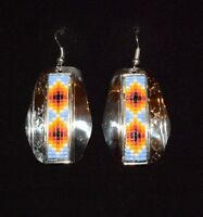 Earrings Native American Beaded & Silver Nickel Navajo Whitehorne