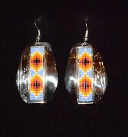 Earrings Native American Beaded & Silver Nickel Navajo Whitehorne