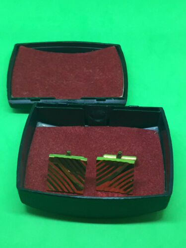 Vintage mens button cufflinks and badge in snakeskin hard case with mirror from Harvard Coop Society