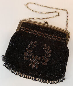 Perlentasche-Tasche-Metallbuegel-schwarz-metallic-Blumen-1900-19cm-x-19cm-antik