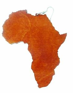 Africa map earrings large or small wooden acrylic gold mirror