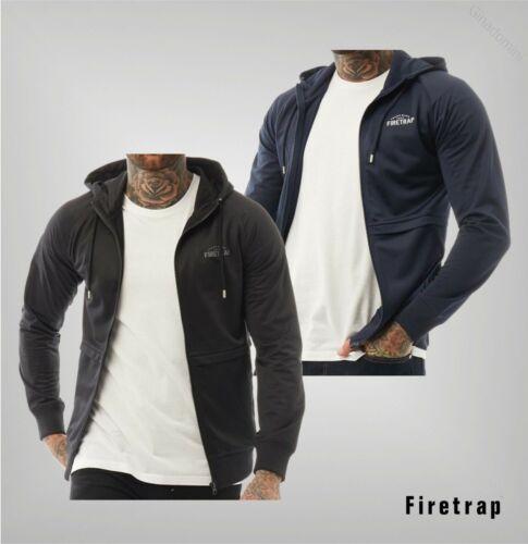 Para Hombre Firetrap recubiertos de goma con el logotipo Acanalado Cremallera superior a través de tamaños de S a XXL Con Capucha