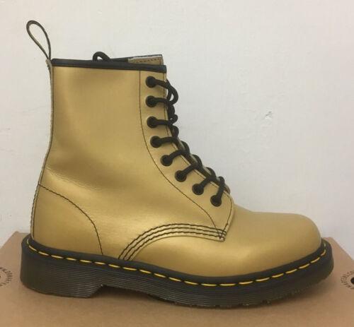 Martens 1460 Botas de cuero metálico oro silenciado Size UK 4 Dr