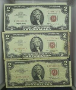 2-RED-SEAL-NOTES-WELL-CIRCULATED-ASSORTED-DATES-1-NOTE-EACH-LOT