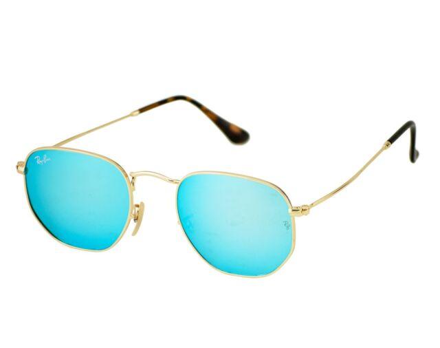 Ray-Ban RB3548N Hexagonal Flat Lenses 001 9O Gold Frame Light Blue Gradient b1754cf457