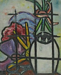 Eleonora ROZANEK 1896 - 1987 - Stillleben mit Vase Blumen Schere