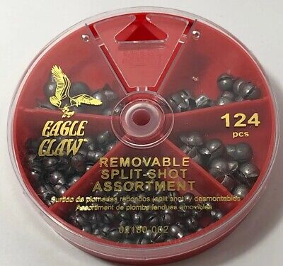 EAGLE CLAW 124 PIECE REMOVABLE SPLIT-SHOT SINKER SELECTOR 02180-002