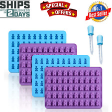 Gummy Bear Candy Making Molds Silicone - Chocolate 2 Bonus Droppers