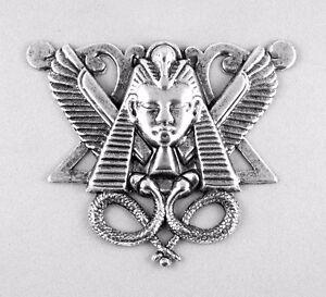 Genuine-Art-Nouveau-Jugendstil-large-Antique-Silver-Medallion-034-Winged-Pharaoh-034