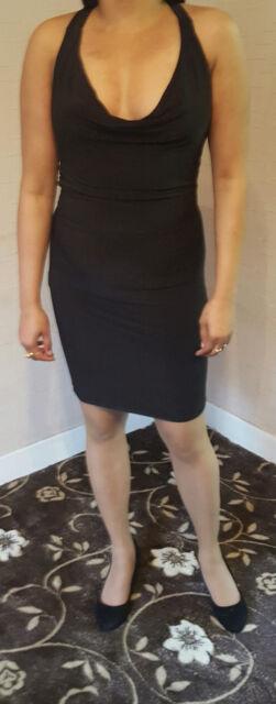 Mujer Fiesta Glamour profundo cuello drapeado ESCOTE Mini-Vestido Negro