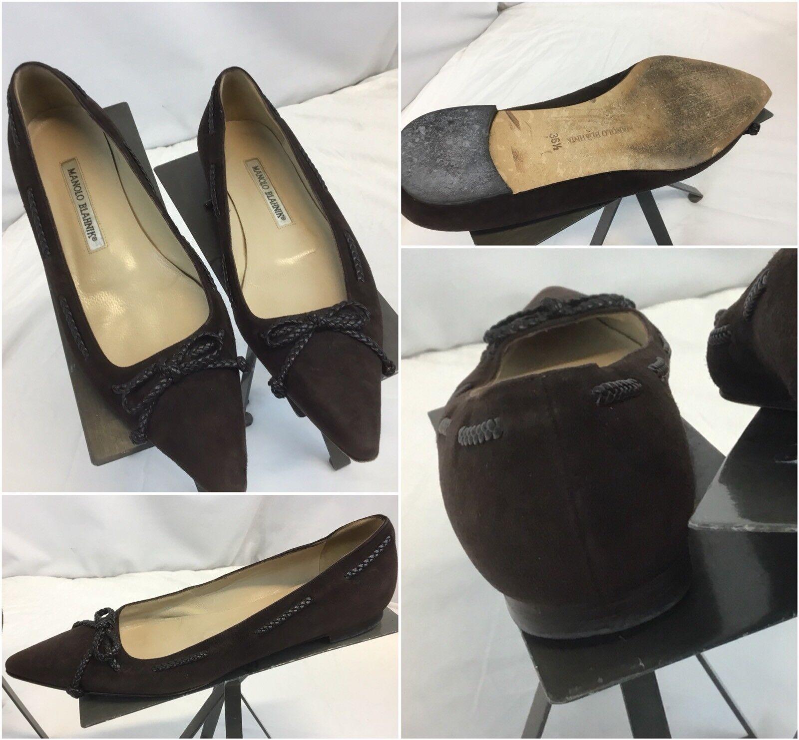 Manolo Blahnik Pumps Slides Shoes Sz 6.5 Brown Suede Lace Mint YGI G8