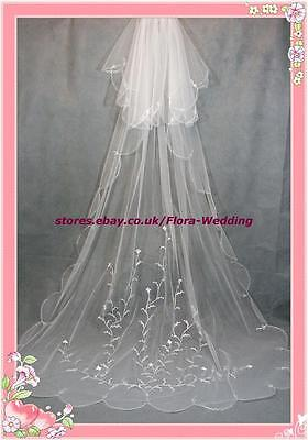 """2-TIER CHAPEL/CATHEDRAL LONG TRAILING BRIDAL WEDDING VEIL,EMBROIDERY DESIGN,95""""L"""