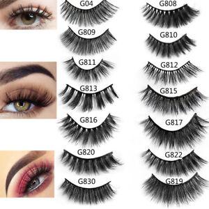 New-SKONHED-5-Pairs-3D-Mink-Hair-False-Eyelashes-Thick-Wispy-Lashes-Natural-so
