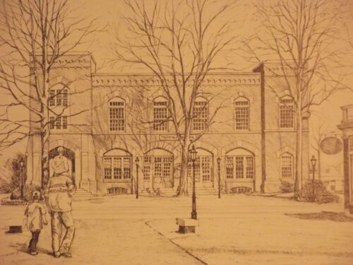 MEDFIELD HOUSE  MA COMMON PRINT  WINTER SCENE  MARK LAPLUME SIGNED LTD