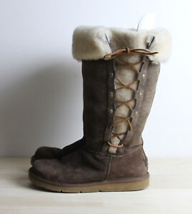 493fb9c5adb Details about UGG AUSTRALIA UPSIDE Womens Size 8 Brown Suede Sheepskin Lace  Up Boots 5163