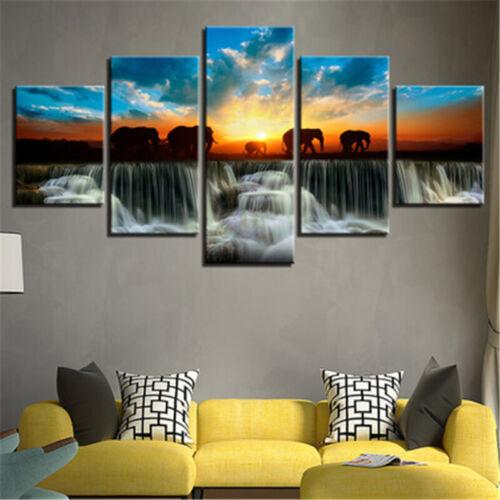 Waterfall Sunset Elephant Frameless Canvas Painting Home Room Art Wall Decor