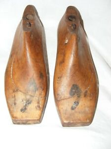 ANTIQUE-FRENCH-SHOE-LAST-FORMS-MOLDS-SHAPERS-COBBLERS-TREEN-METAL-BASE-WOMEN-039-S