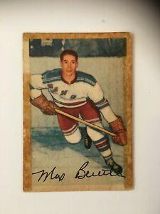 Pankhurst-NHL-1954-55-card-Max-Bentley-New-York-Rangers-55-VG