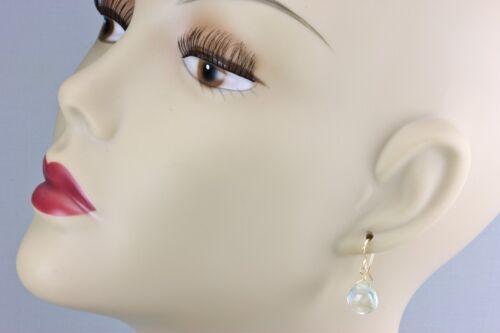 Prasiolite verte Améthyste Boucles d/'oreilles Facettes Coeur doux Dangle Drop 14k Sterling
