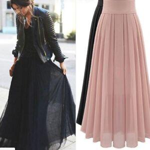 Women-Chiffon-Long-Maxi-High-Waist-Summer-Pleated-Boho-Beach-Skirt-Dress-Size