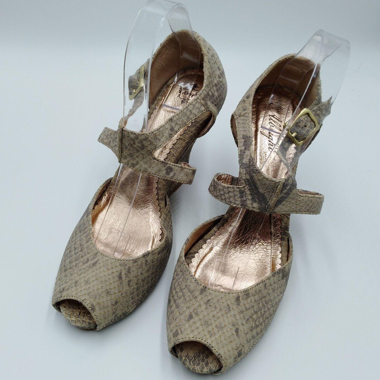 Anthropologie Miss Albright Size 10 Heels Tamalou Snakeskin Peep Toe Wedge Strap