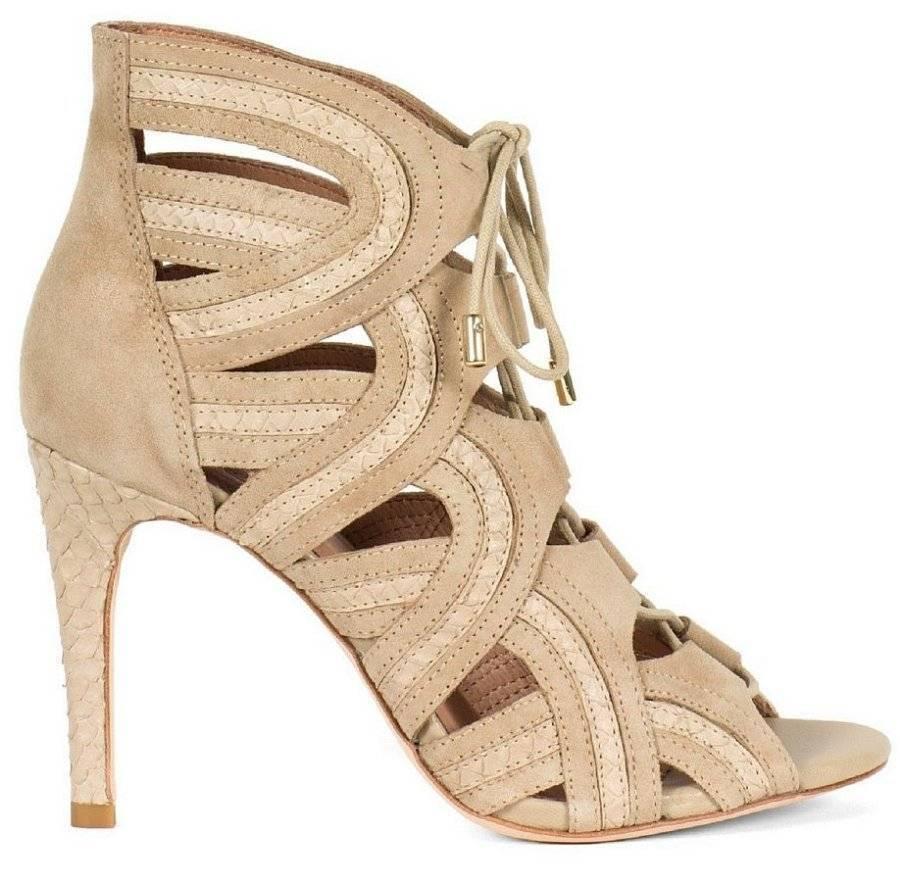 Joie $385 Dean Leder Suede Snakeskin Caged Gladiator Sandale Heels Sz 36 - (6)
