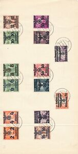 Lot-Stamp-Germany-Poland-WWII-Eagle-Overprints-on-Paper-Sheet-CTO