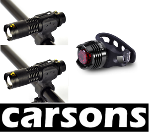 two alloy front torches /& rear 5 led USB rechargeable set kit zoom flash bike UK