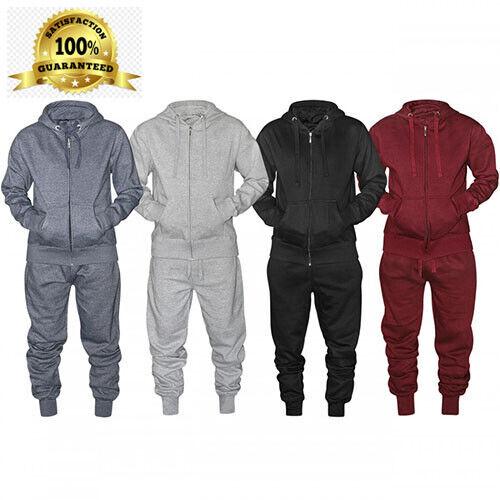 16sixty Mens Plain Fleece Tracksuit Zip Up Hoodie Top /& Trouser Jogging Bottoms