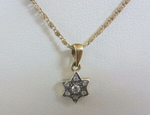 14K-Yellow-Gold-Petite-Star-of-David-amp-Diamonds-15-034-14K-Chain-Free-Shipping