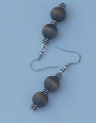 Earrings Indigo Blue Wooden Beads Fishooks BOHO Beach Hippie Artisan Jewelry