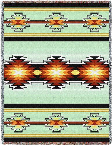 70x53 SEVAH Southwest Green Tapestry Afghan Throw Blanket