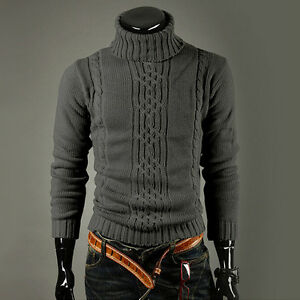 Mens-Warm-Chunky-Knitted-Sweater-Turtle-Neck-Pullover-Jumper-Knitwear-Winter-Top