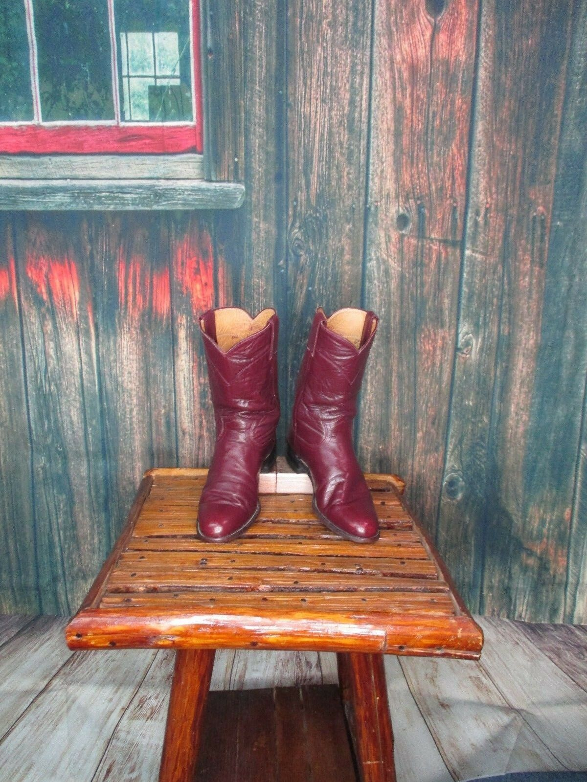 Ladies Maroon Leather Justin Roper Western Boots Sz: 8.5 A NARROW (AF)