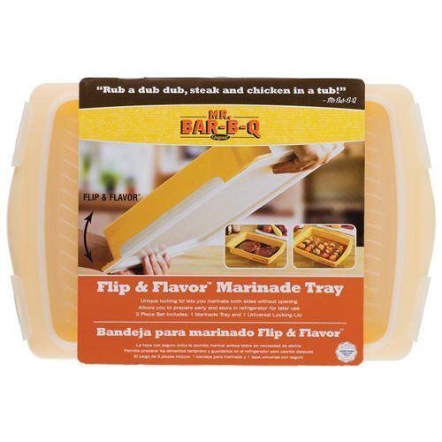 Mr Bar-B-Q Flip /& Flavor Marinade Tray in Yellow 2 Pcs Set Tray /& Locking Lid