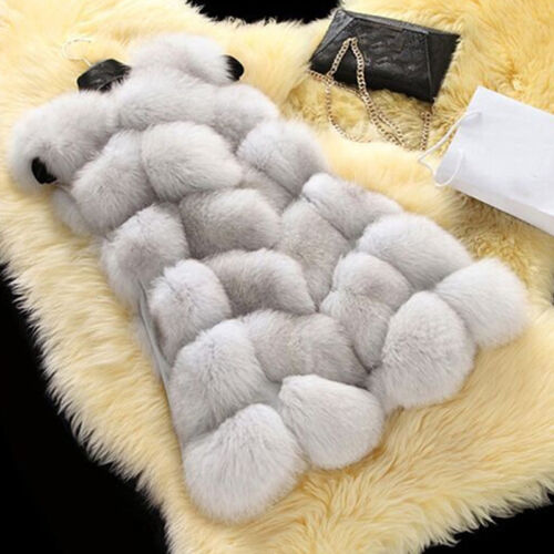 Women Winter Warm Faux Fur Gilet Vest Sleeveless Waistcoat Jacket Coat Size 8-20