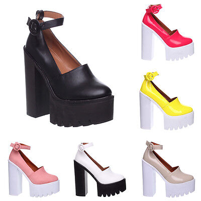 WOMENS LADIES CLEATED CHUNKY SOLE PLATFORM BLOCK HEEL ANKLE BOOTS SHOES SIZE