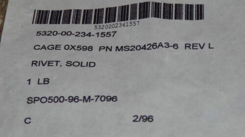 1//8 pound MS20426A3-6 Aluminum Aircraft 100 Deg Solid Rivets 3//32 d x 3//8 long