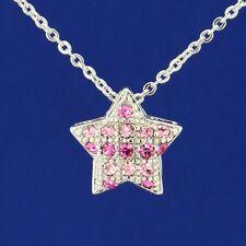 W Swarovski Crystal Star Pink Color Charm Necklace Jewelry Pendant Gift