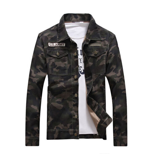 Stylish Men Camouflage Casual Jacket Slim Fit Denim Shirt New Camo Tops Outwear