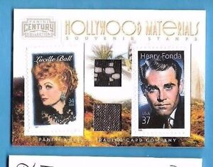 LUCILLE-BALL-HENRY-FONDA-WORN-SWATCH-MATERIALS-RELIC-amp-STAMP-CARD-250-AMERICANA