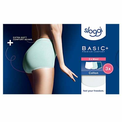Turquoise Dark Combo Sloggi Women Basic 3 Pack Maxi Brief
