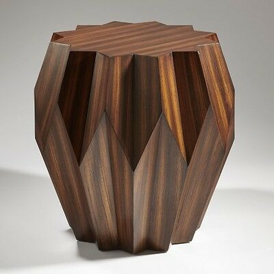 24 Tall Origami Side Table Solid Hardwood Zebra Wood Veneer Dark Stain Lacquer Ebay