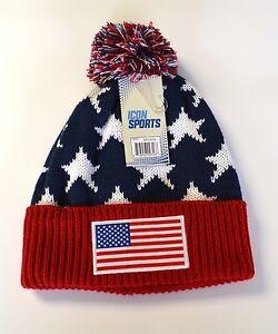 American Usa Beanie Logo Flag Gorro Gorra Pom Knit Hat Cap Hat ... ccbf83ad99ee