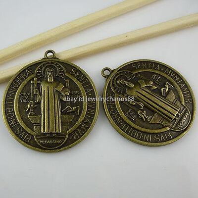 10707 2PC St Benedict Peace PAX Cross Pendant Exorcize Demon Vintage Bronze Tone