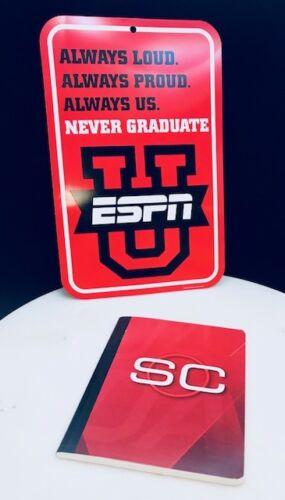 "ESPN /""U/"" Never Graduate Decorative Wall Sign w//Matching 100pg Schedule Notebook"