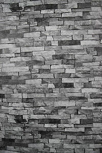 Tapisserie Effet Pierre Gris thin stone effect wallpaper. light grey brick style. made in germany