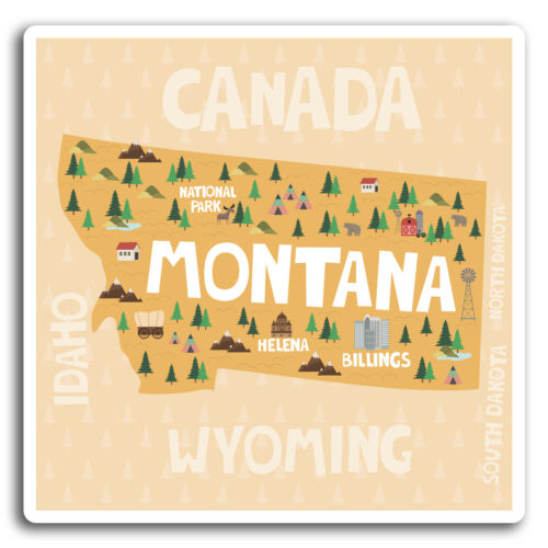 2 X 10cm Montana USA Mapa Pegatina-Pegatinas de vinilo Laptop Equipaje Regalo #19348