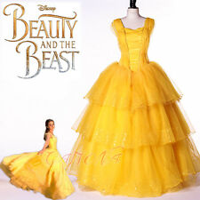 Cafiona New Beauty and the Beast Belle Princess Cosplay Costume Long Party Dress