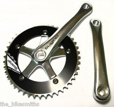 "Sugino Messenger 170mm SILVER / BLACK Track Fixed Gear Bike Crank Set 1/8"""